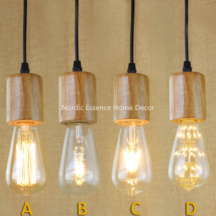 American minimalist e27 lamp single head personalized clothing stores wooden stairs decorated - Grosse ampoule decorative ...