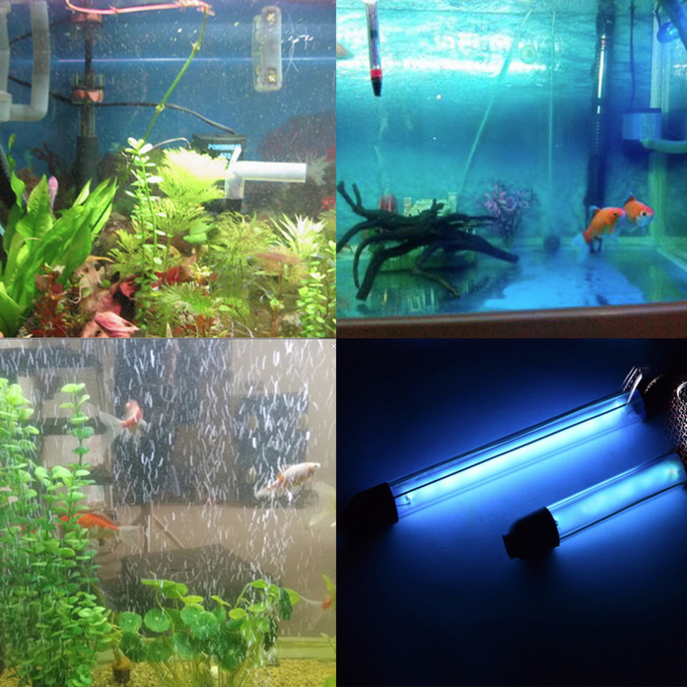 15W 3.7M IP68 Waterproof 110V-240V Aquarium Fish Tank UV Light Submersible UV Sterilizer Lamp With Power Adapter