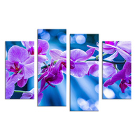4pcs Violet Flowers Living Rooms Set Wall Painting Print On Canvas For Home Decor Ideas Paints