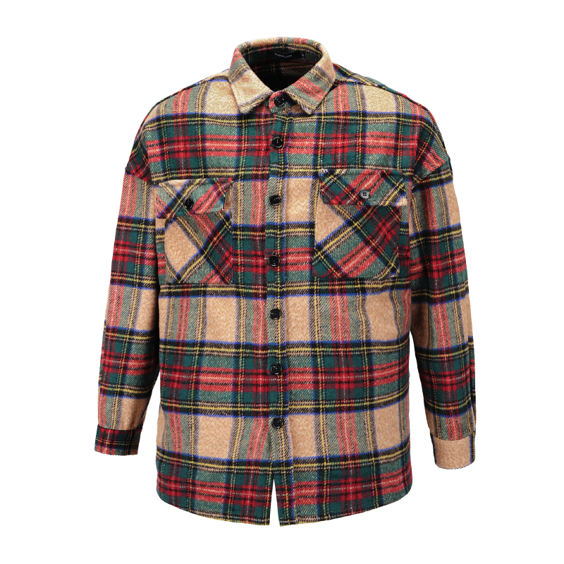 Winter Khaki Plaid Thick Flannel Shirt Patched Pockets Long Sleeve Cropped Workshirt Streetwear