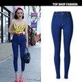 Nuevo 2017 Moda Vintage Camiseta Retro de Cintura Alta Jeans Mujer de Marca pantalones de Mezclilla Delgada Lápiz Pantalones Vaqueros de Las Mujeres Pantalones