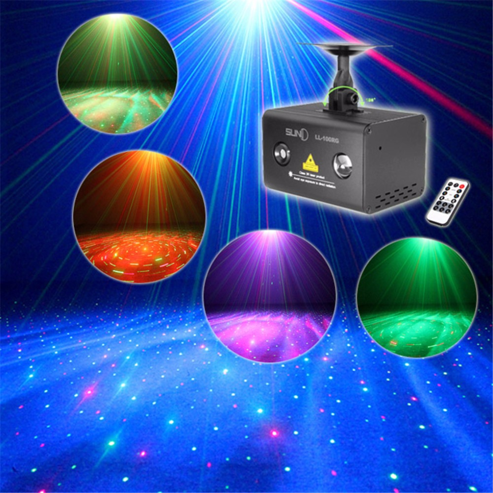 AUCD Mini Portable Remote Music Fantasy Aurora RG Laser Projector Lighting RGB LED Mixing Effect Show