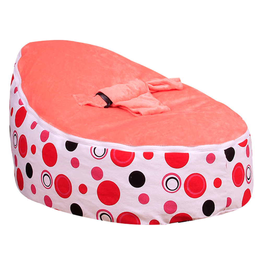 Levmoon Medium Red Circle Print Bean Bag Chair Kids Bed For Sleeping Portable Folding Child Seat Sofa Zac Without The Filler In Children Sofas From