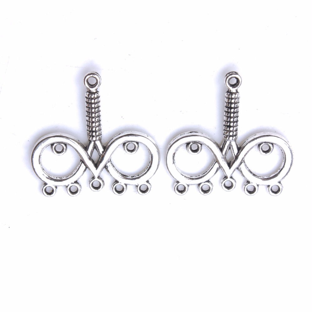 10pcs/lot 28*28mm Fashion Evil Eye Pendant Charms Antique Silver Color Alloy Connector DIY Jewelry Findings Components