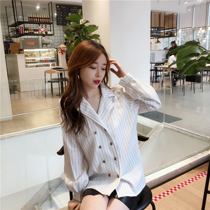 Shirts Women Simple Retro Striped All-match Double-breasted Korean Style Students Notched Womens Elegant Blouses Loose Chic 2019 8