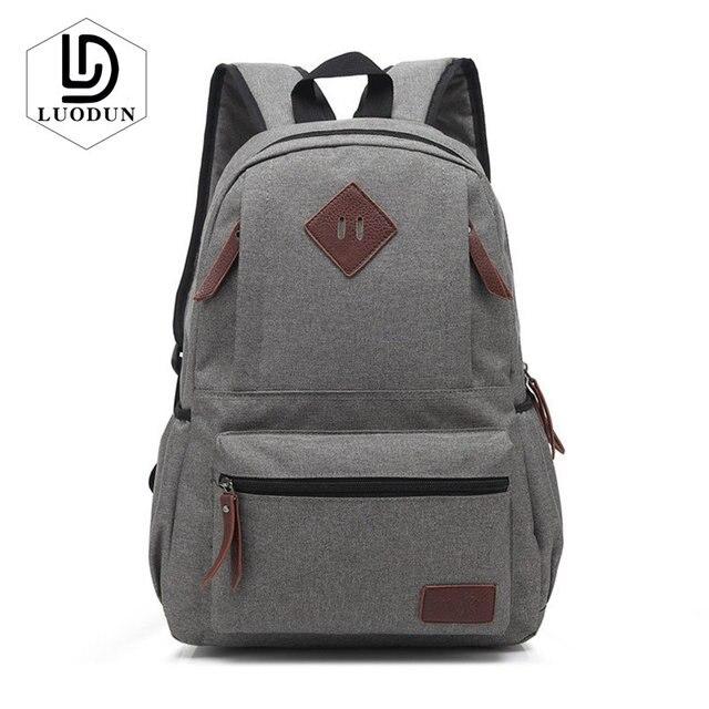 14da6c5707c LUODUN 2018 New Vintage Classic School Bags Laptop Backpack Men Women Travel  Shoulder Bag Fashion Teenager
