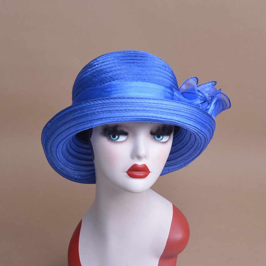 Jednolity kolor kobiet lato Organza melonik kapelusz słońce Kentucky Derby czapki dla kobiet Tea Party A267