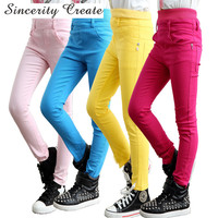 4-13Y Teenager Fashion High Waist Candy Color Skinny Children Pants Pencil Casual Long Girls Pants Girls leggings KL-1519