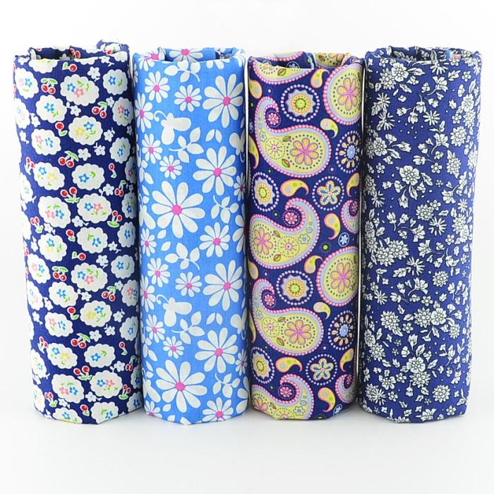 4 Piece 100/% Cotton Poplin Quilting Blue /& Grey Fabric Fat Quarter Bundle
