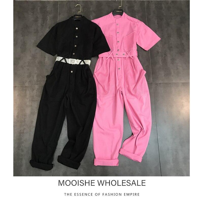Packet Short Sleeve Pink Women   Jumpsuit   High Waist Belt Black Shirt
