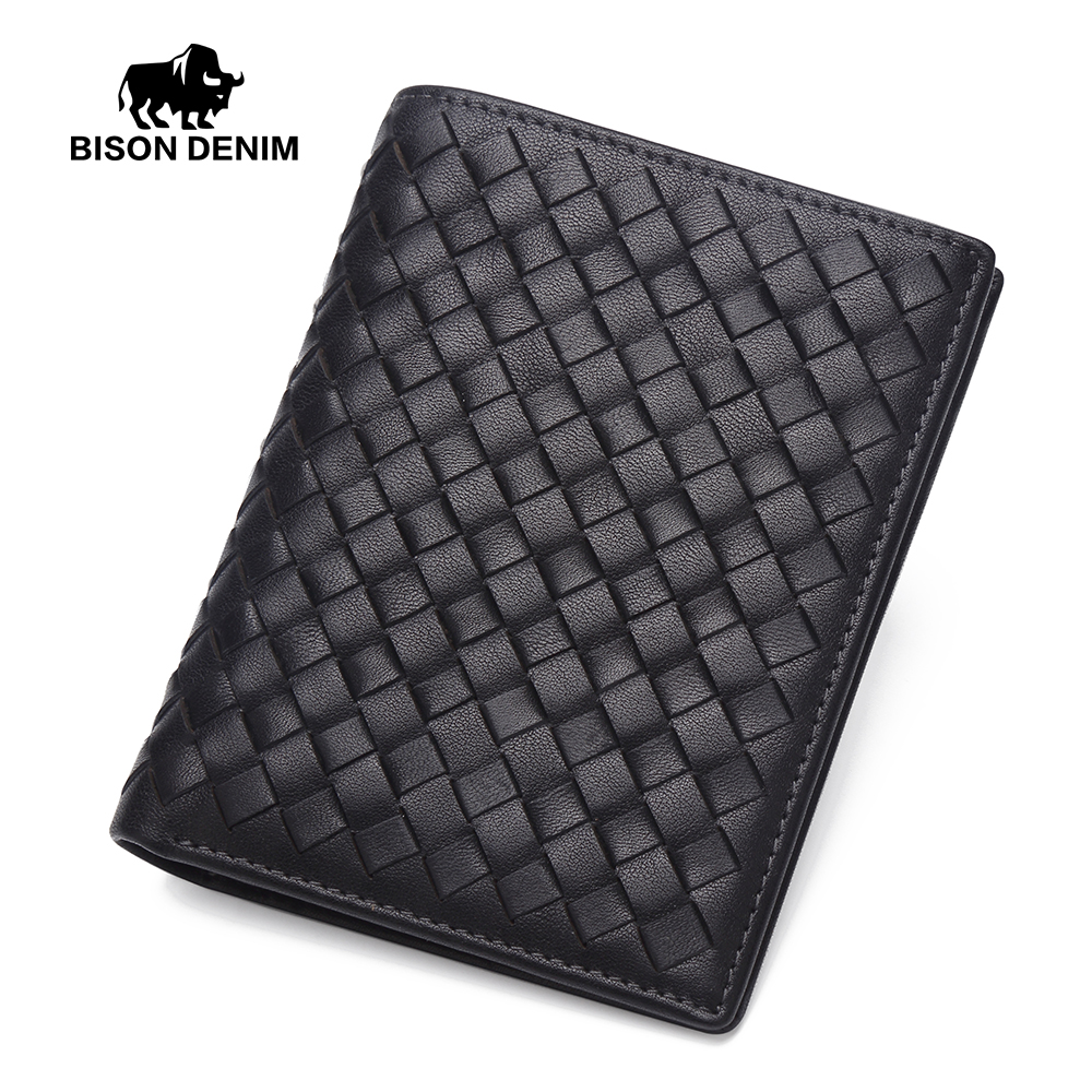 BISON DENIM Men's Wallet Mini Purse Cowskin Black Handmade Genuine Leather Money Purses Cash Wallets For Men N4435
