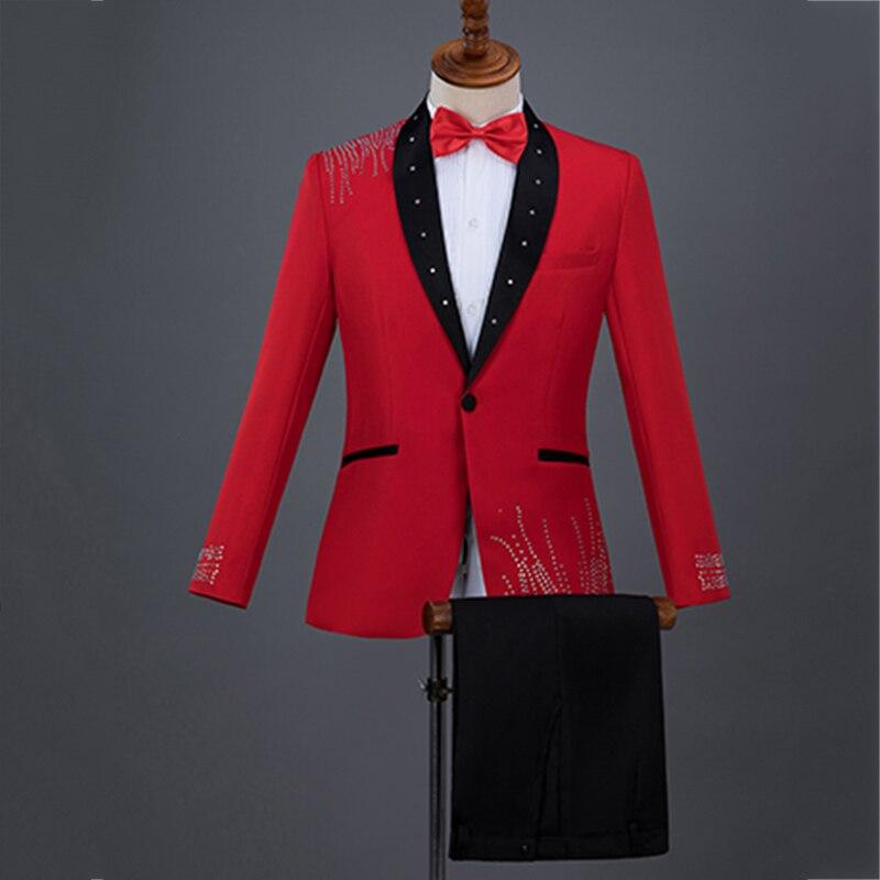 Formel vestes hommes solide couleur mince manteau cristal ensemble Costume mâle magicien scène tenue de bal chanteur Chorus hôte vêtements DT766