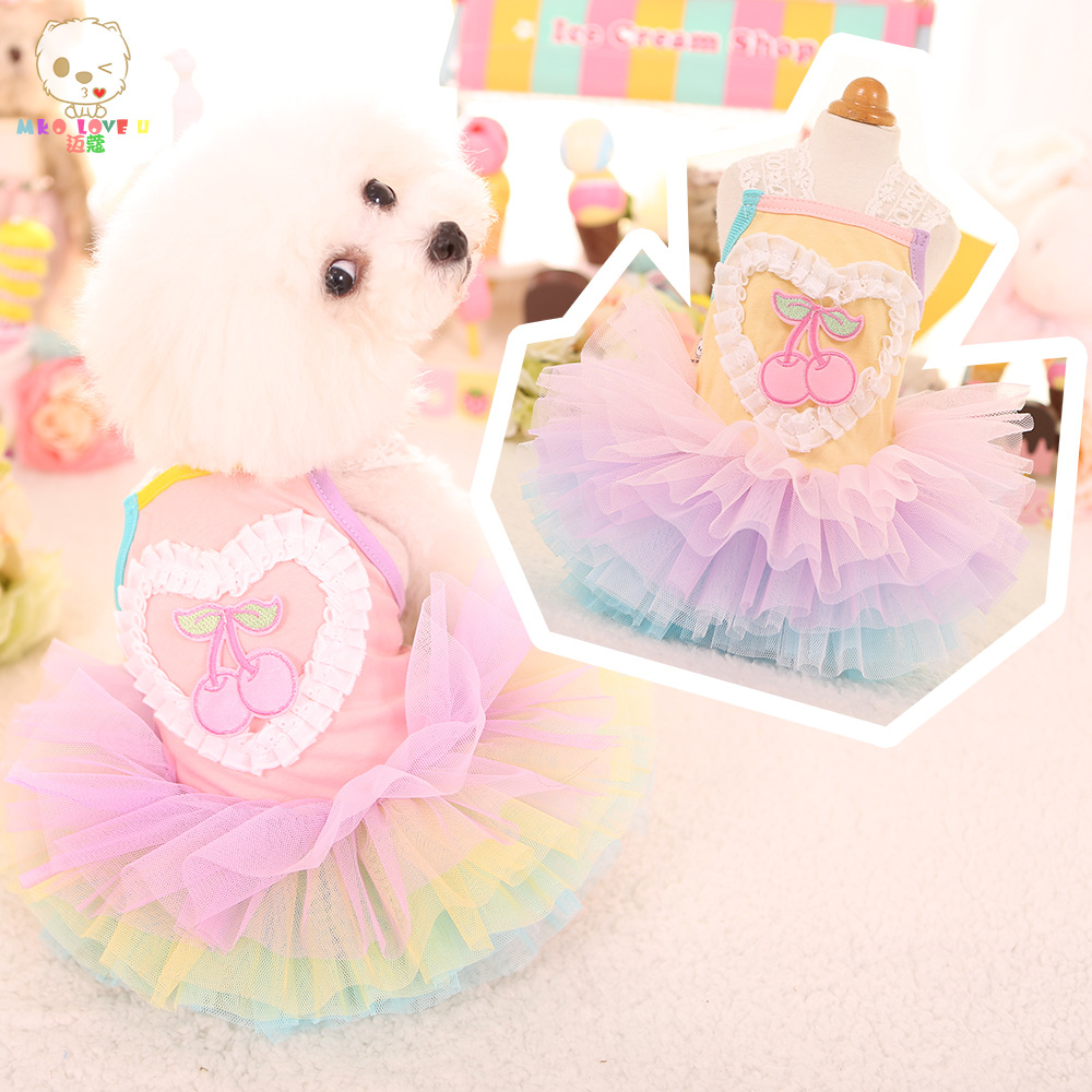 Cherry fruit design lovely chiwawa teddy small puppy pet dogs spring and summer princess dog dress skirt clothes in Dog Dresses from Home Garden