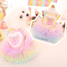 Cherry fruit design lovely chiwawa teddy small puppy pet dogs spring and summer princess dog dress skirt clothes