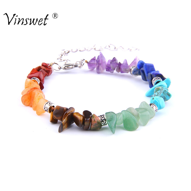 7 Chakra Reiki Chain Link Lobster Clasp Healing Balance Natural Chip Stone Beads