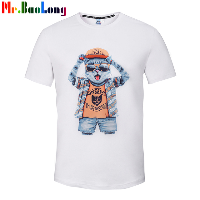 Mr Baolong 2017 Nowa Moda Mężczyzna 3d Tshirt Zabawne Okulary