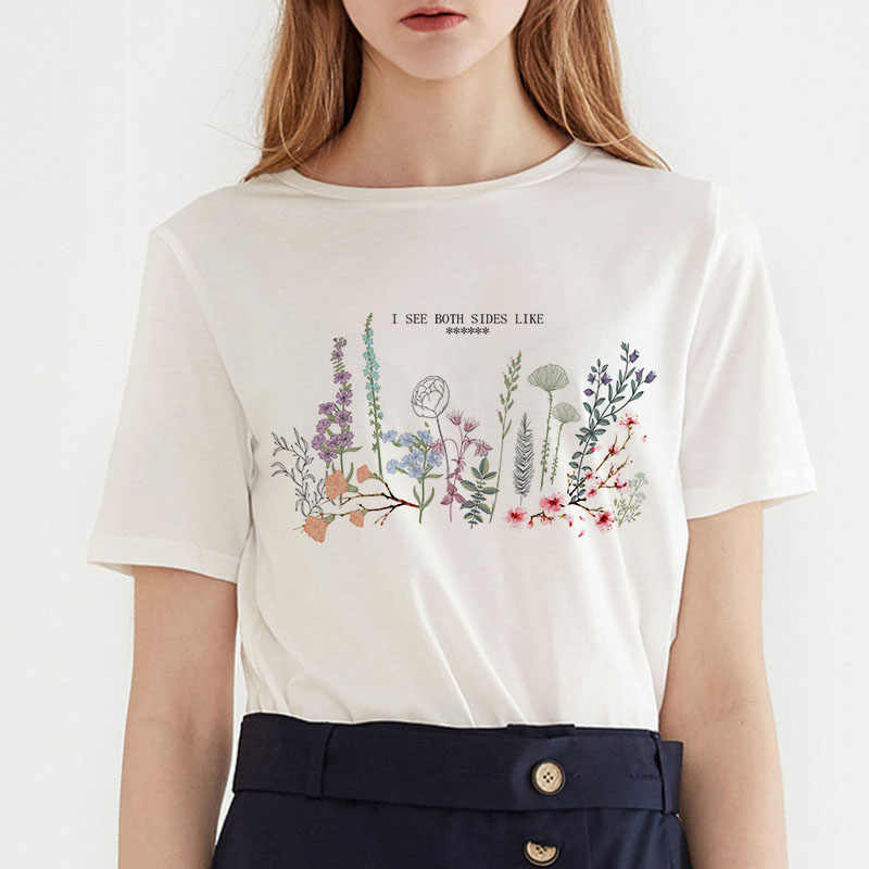 Casual summer dress i see both sides like print Harajuku fashion ins loose beauty girl short-sleeved women's T-shirt tops