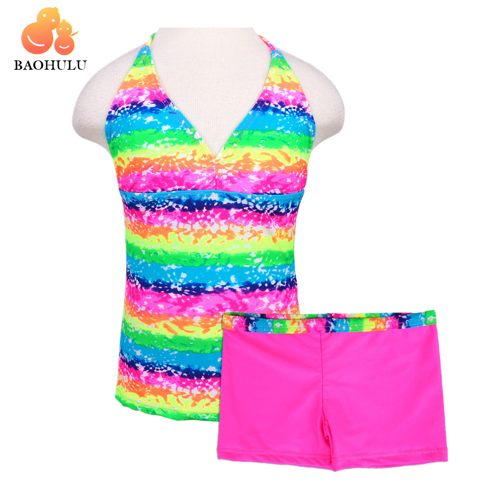 2018 BAOHULU New Top+Shorts Pants Sleeveless Child Kid Summer Cool Colorful Rose Yellow Pool Rainbow Beach Surf Bath Vacation