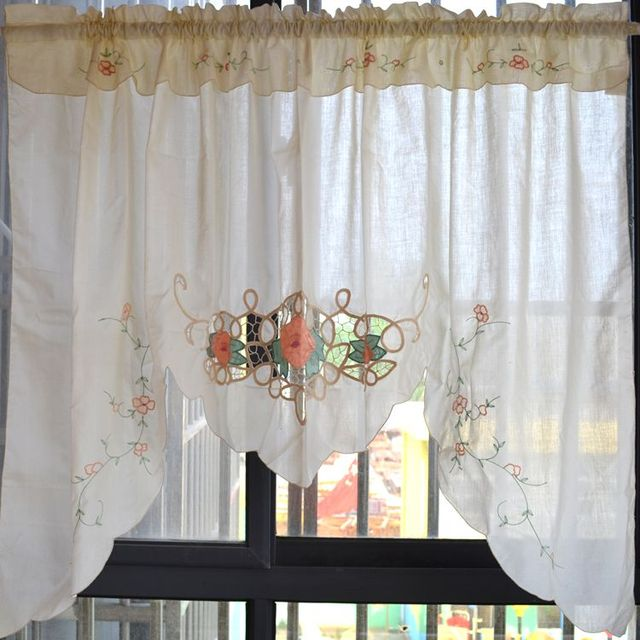 Curtains Ideas coffee curtains for kitchen : Aliexpress.com : Buy embroidered cloth triangle head curtain ...