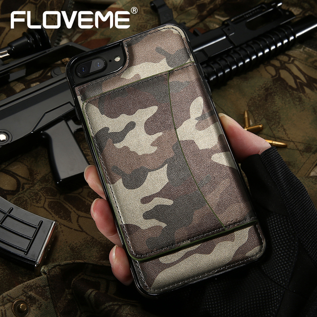 best sneakers bac7a a99ae FLOVEME Wallet Case For iPhone 6 6S 7 Plus Army Cover Camouflage Pattern  Kickstand PU Leather Phone Bag Case For iPhone 7 7 Plus-in Wallet Cases  from ...