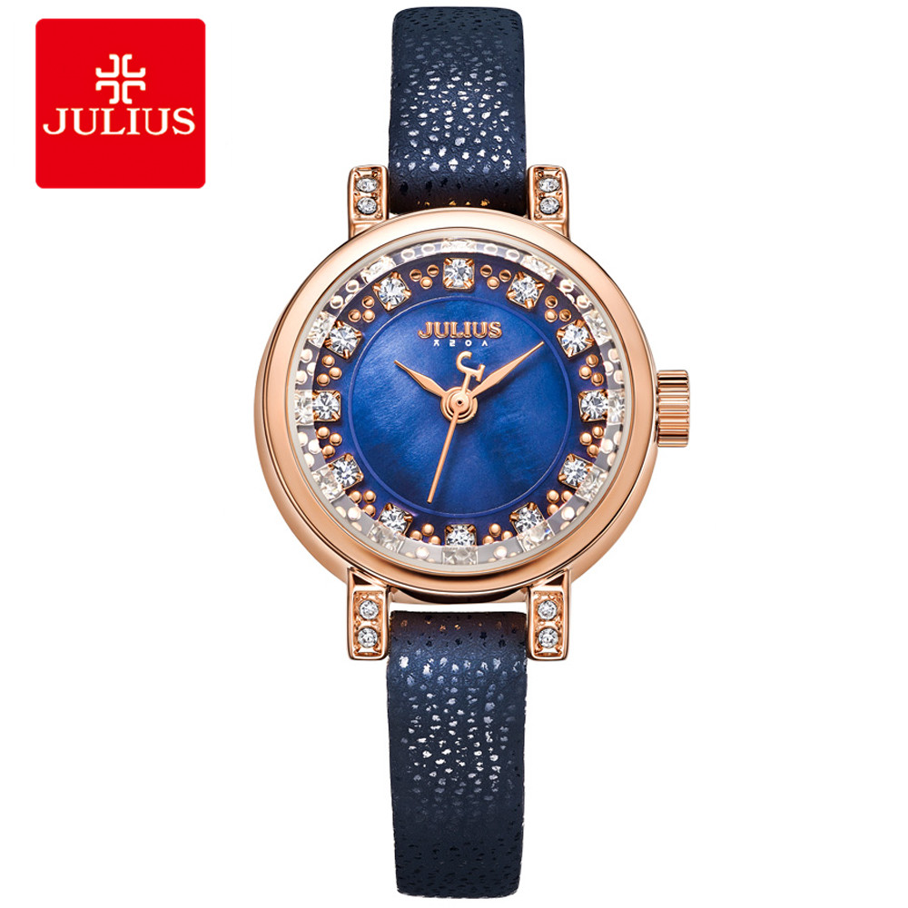 JULIUS Girls Watch Women Femmes Watches Ladies Wrist Leather Strap Slim Watch Small Wrist Festival Gift Elegance Watches JA-884