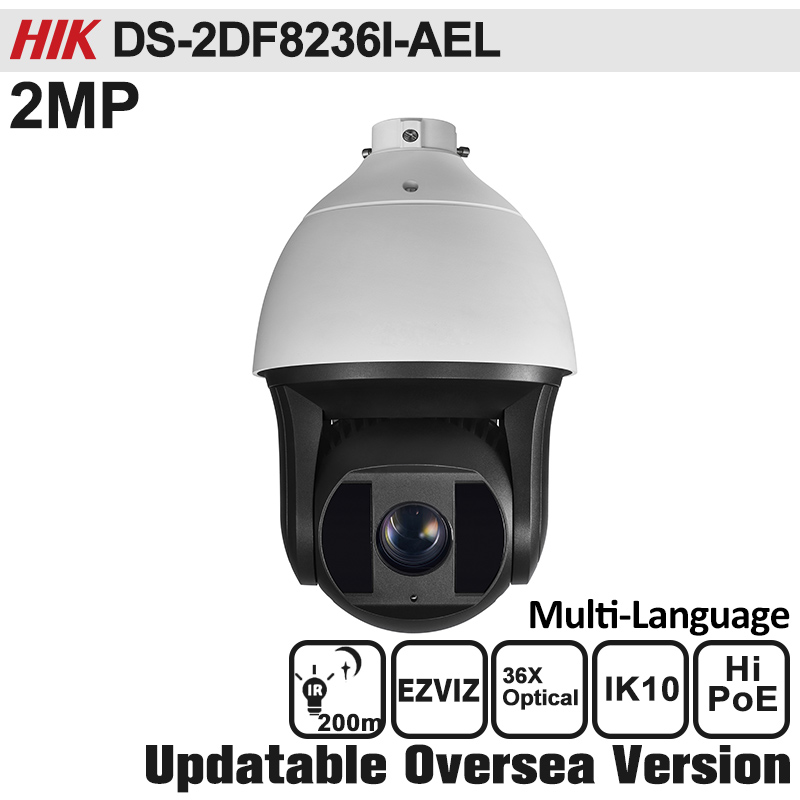 HIK DS-2DF8236I-AEL  PTZ Camera 2MP Full HD Ultra-low Light Smart PTZ Camera Outdoor 1080P Hi-PoE, 24VAC IK10 CCTV Camera newest hik ds 2cd3345 i 1080p full hd 4mp multi language cctv camera poe ipc onvif ip camera replace ds 2cd2432wd i ds 2cd2345 i
