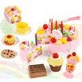 75 unids de Corte BRICOLAJE Pastel de Cumpleaños Juguete Clásico Juego de Imaginación Alimento de la Cocina de Juguete Niños de Los Niños Del Bebé brinquedos casa Juego de Ollas