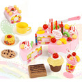75pcs DIY Cutting Birthday Cake Kitchen Food Toy Children Kids Baby Classic Toy Pretend Play brinquedos house Cookware Set