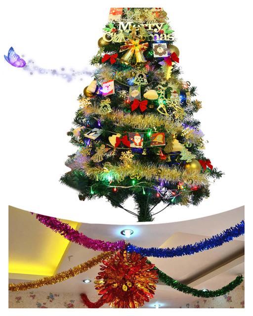 1.8M Christmas Tinsel Decorations Party Ribbon Garland Tops Hoop Window  Ornaments Home Christmas Tree Decoration