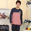 Весна Осень Повседневная Сна Одежда мужская Пижама Устанавливает Мужской Хлопок Пижамы Человек Catoon Домашней Одежды Костюмы Гостиная Полосатый