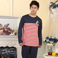 Primavera Outono Casual Desgaste Do Sono Pijama dos homens Define Ternos de Algodão Sleepwear Masculino Homem Catoon Roupa Em Casa Salão Listradas
