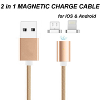 2 In 1 Magnetic Nylon Braided Charging Data Cable Fast Charge Wire For IPhone 5 5C