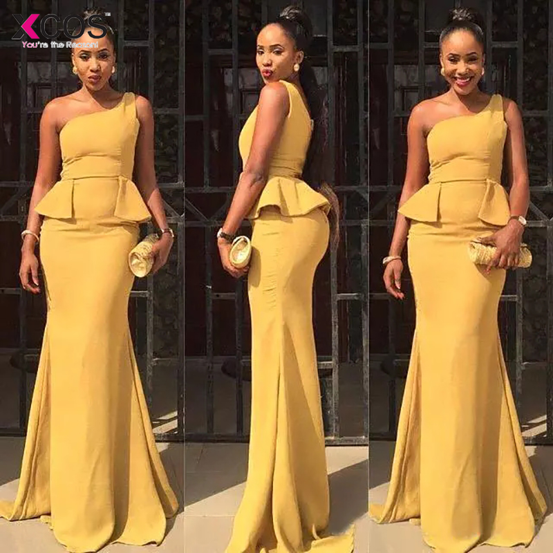 2018 Turmeric Mermaid   Prom     Dresses   Long Cheap One Shoulder Chiffon Formal Party Evening Gowns With Peplum Custom Made