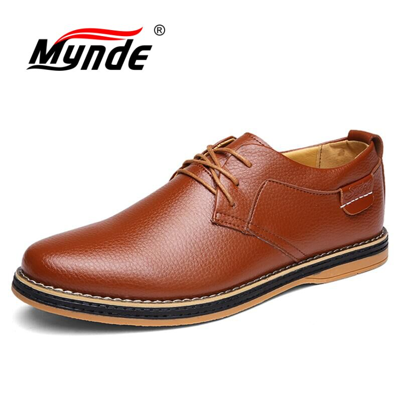 MYNDE 2018 Men Dress Shoes Simple Style Quality Men Oxford Shoes Lace-up Brand Men Formal Shoes Men Leather Wedding Shoes klywoo brand new simple style men dress shoes leather breathable lace up oxford shoes for men fashion oxford zapatos hombre