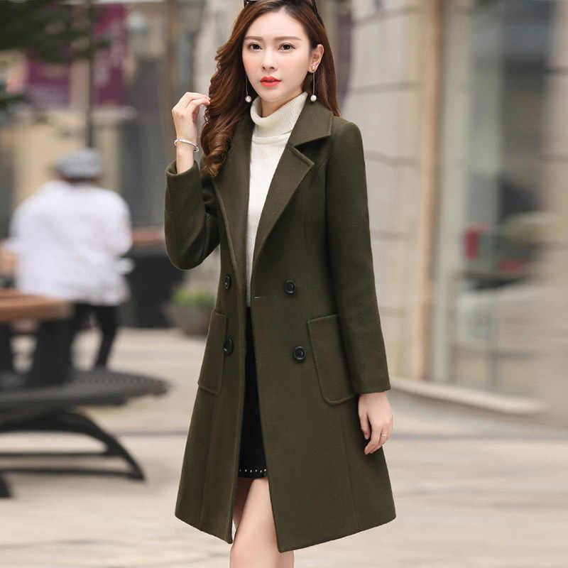 XUXI 2019 新スリムフィットファッション暖かいカジュアルオフィス女性ブレンド梨花コートジャケットカーキ女性の冬のウールコートプラスサイズ FZ236