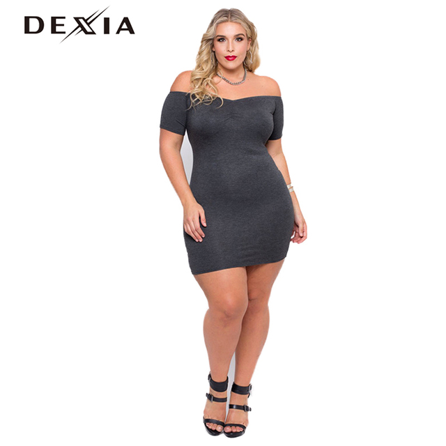 US $19.8 40% OFF|DEXIA Women Dress Plus Size Bodycon Clothing Spring Slash  Neck Short Sleeve Gray Solid Fashion Elegant Office Dresses 170169-in ...