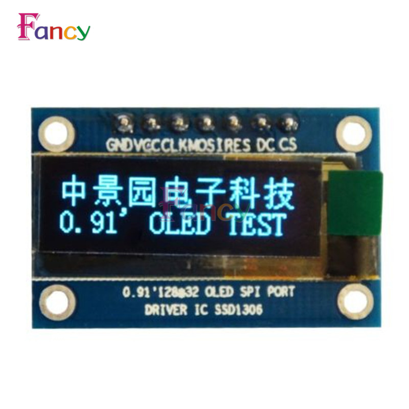 0.91 Inch SPI 128x32 Blue OLED LCD Display DIY Module SSD1306 Driver IC DC 3.3V-5V For Arduino PIC