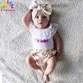 Enbaba детская одежда девушка summer2016 рядом новорожденный девушка одежда Без Рукавов белые кружева футболка + шорты + оголовье 3 шт. набор детской