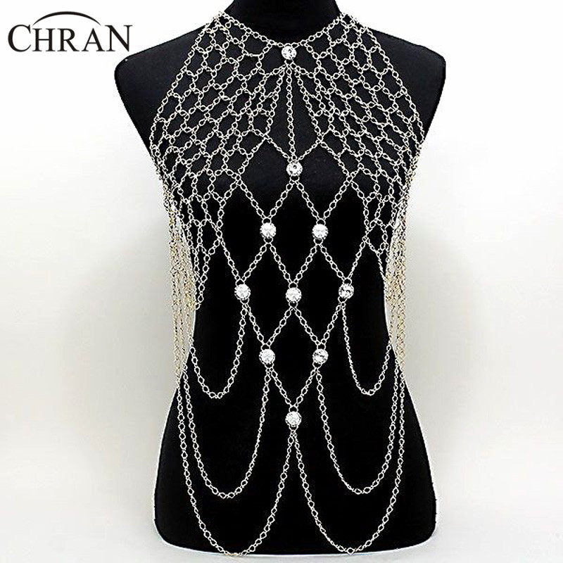 Chran nouvelle mode Sexy or et argent drapé cristal Netted collier plage chaîne Bikini bijoux harnais DDBJ9002 livraison gratuite