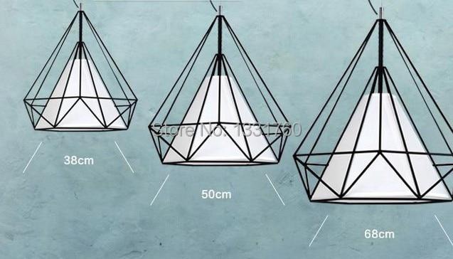dia50cm Artistic Creativity Iron Pendant light Drop light Lamp For dinning room Restaurant Lighting Diamond Shape