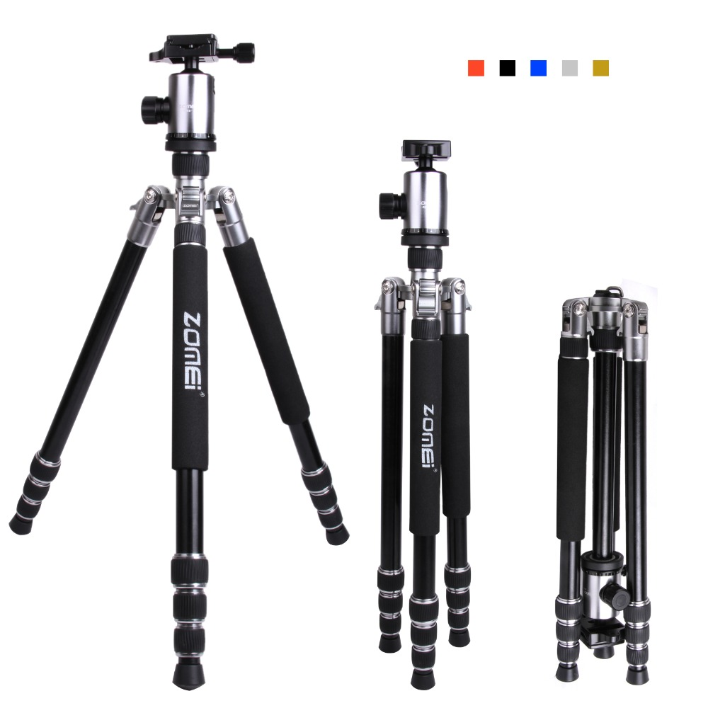 New Zomei Z888 Professional Aluminum Tripod Monopod &36mm Diameter Ball Head Quick Release Plate With Bag for DSLR Camera Silver new sys700 aluminum professional tripod