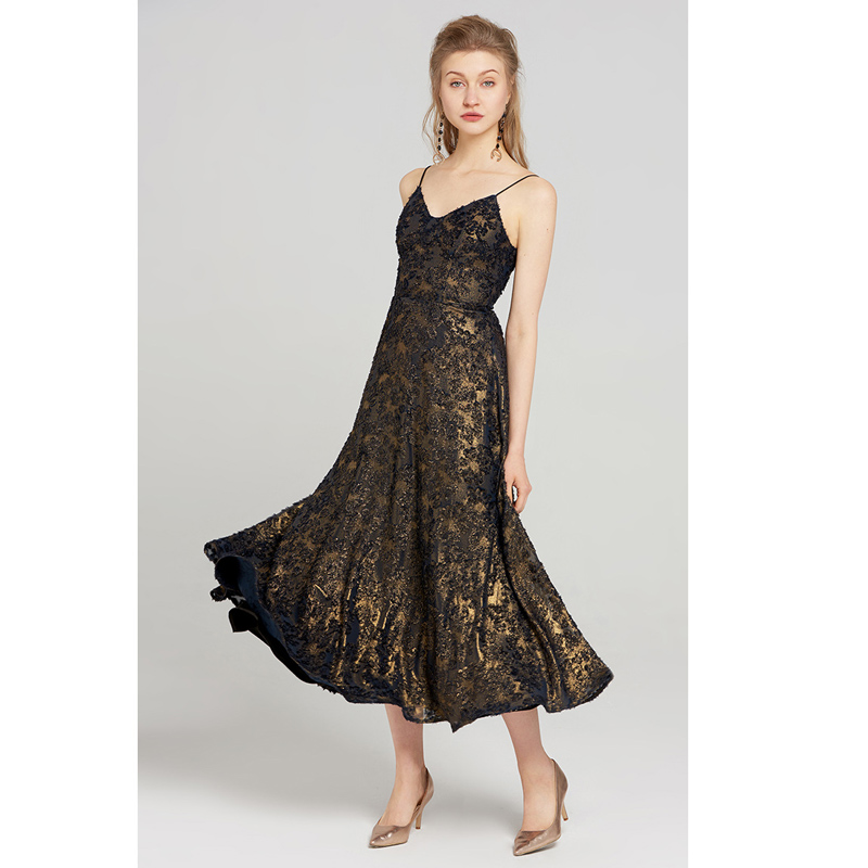Summer 2018 Clothing New Elegant Woman Party Dress Black