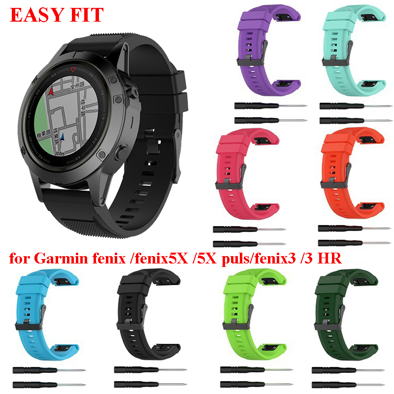10 Colors 26MM Watchband for Garmin Fenix 5X Plus 3 3 HR Descent Mk1 Watch Quick Release Silicone Easy fit Wrist Band Strap10 Colors 26MM Watchband for Garmin Fenix 5X Plus 3 3 HR Descent Mk1 Watch Quick Release Silicone Easy fit Wrist Band Strap