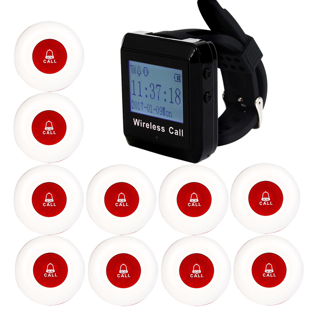 1 Watch Receiver+10 Call Button 433MHz Wireless  Pager Calling Paging System Guest Service Restaurant Equipments F3258 service call bell pager system 4pcs of wrist watch receiver and 20pcs table buzzer button with single key