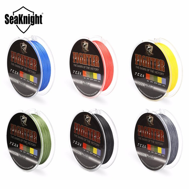 SeaKnight Fighter 100m Super Strong 4 Strands 8LB-60LB Multifilament PE Braided Fishing Line Carp Fishing Rope Wire Fish Tackles