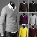 Многоцветный осенний v-образным вырезом основные тонкий мыжской свитер мужская одежда черный