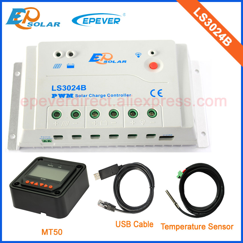 PWM control charger solar 30A 30amp LS3024B USB cable temperature sensor and MT50 remote meter ep new series pwm regulator solar panel system controller with usb cable and mt50 remote meter vs3024bn 30a 30amp