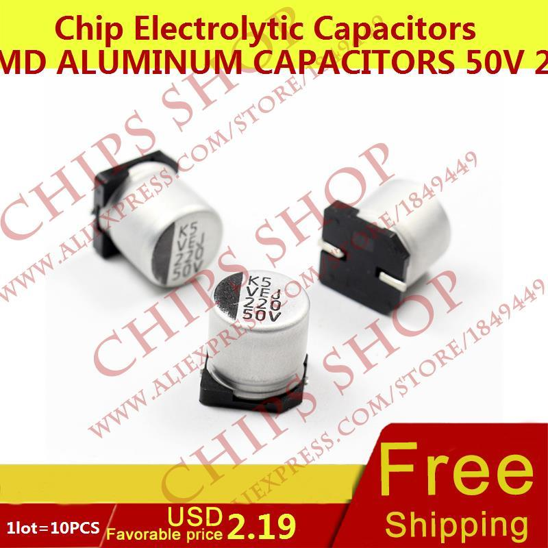 1LOT 10PCS SMD Aluminum Capacitors 50V 220uF 227 10 10 5mm 220000nF 220000000pF