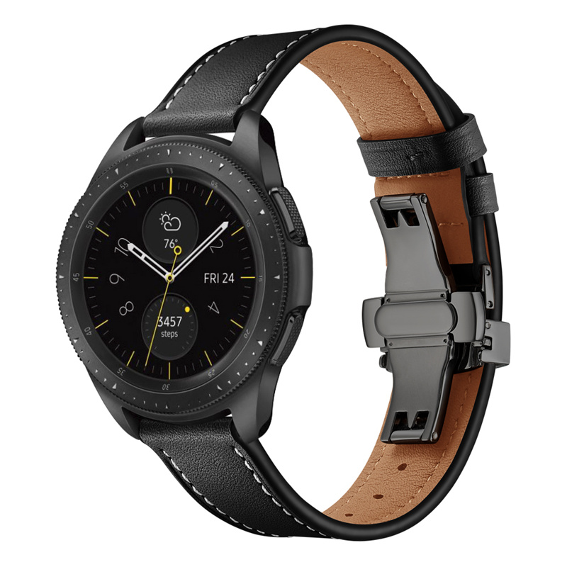 20mm 22mm Genuine Leather Watch Band Strap For Samsung Galaxy Watch 42 46mm Gear S3 WatchBand Stainless Steel Butterfly Clasp