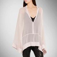 Распродажа Средства ухода за кожей шелковая рубашка Для женщин Мода шифон Блузки для малышек негабаритных рукав «летучая мышь» большие сво